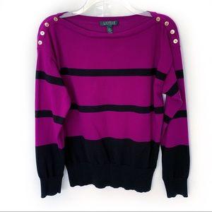 Ralph Lauren Cotton Blend Striped Sweater